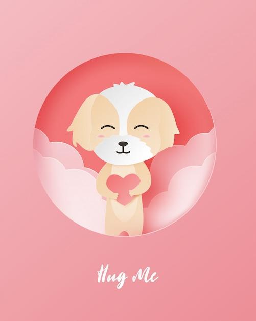 Valentinstaggrußkarte mit glücklichem hund und herz formen in papierschnittart. Premium Vektoren