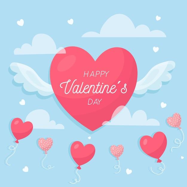Valentinstaghintergrund im flachen design Kostenlosen Vektoren