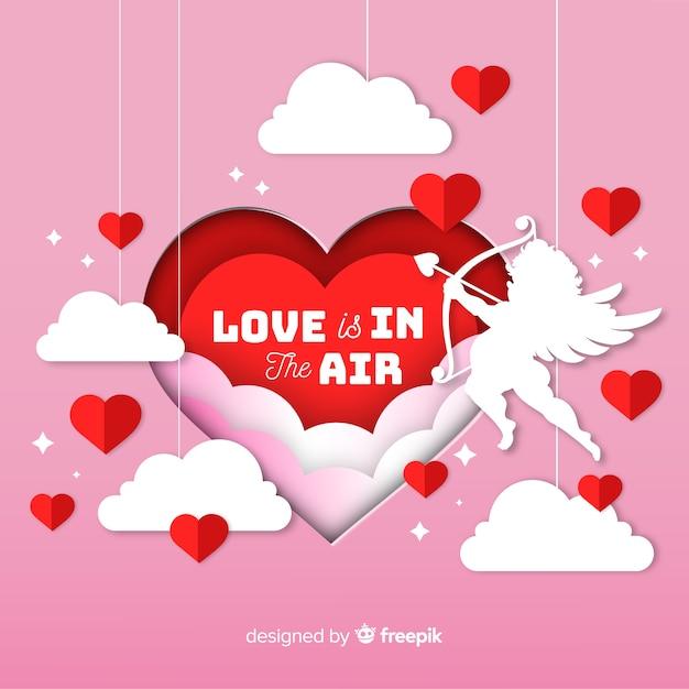 Valentinstaghintergrund in der papierart Kostenlosen Vektoren