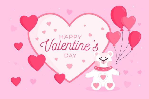 Valentinstaghintergrund mit dem bären, der ballone hält Kostenlosen Vektoren