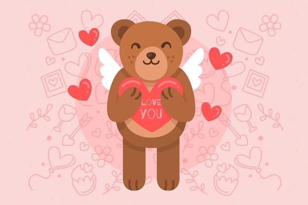 Valentinstaghintergrund mit nettem bären Kostenlosen Vektoren