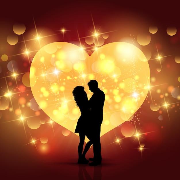 Valentinstaghintergrund mit schattenbild eines liebevollen paares auf einem herzdesign Kostenlosen Vektoren