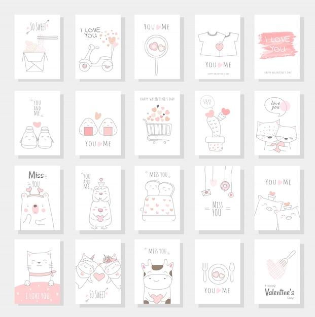 Valentinstagkartensatz mit hand gezeichneter art Premium Vektoren