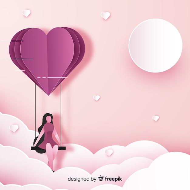 Valentinstagmädchen auf schwingenhintergrund Kostenlosen Vektoren