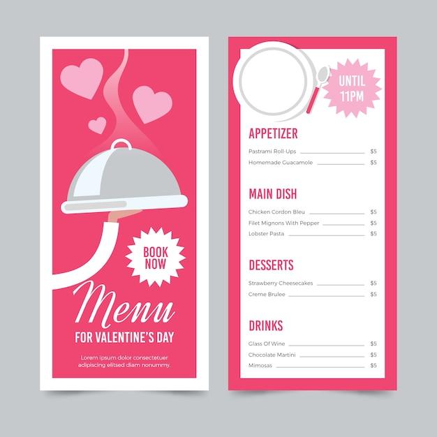 Valentinstagmenü und kellner mit tellersegment Kostenlosen Vektoren