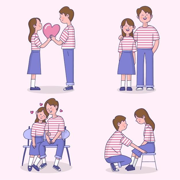 Valentinstagpaare mit streifent-shirt sammlung Kostenlosen Vektoren