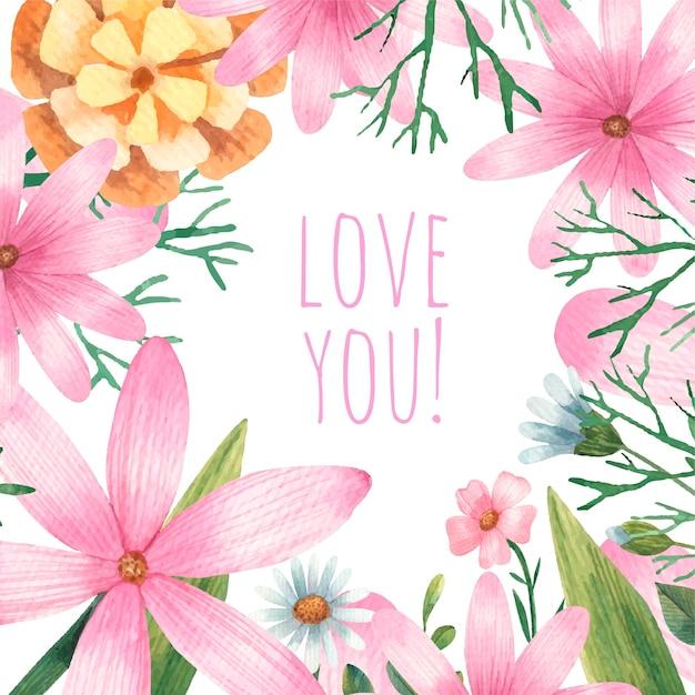 Valentinstagskarte, blumen, botanikblätter Premium Vektoren
