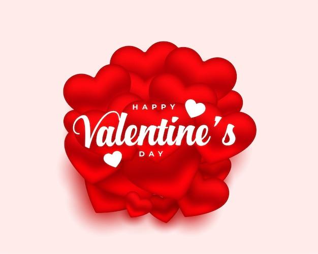 Valentinstagskarte mit 3d herzen entwerfen hintergrund Kostenlosen Vektoren