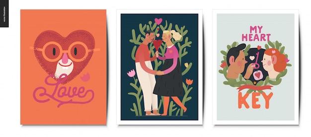 Valentinstagskarten gesetzt Premium Vektoren