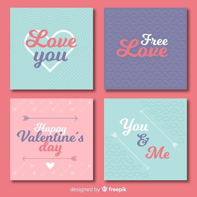Valentinstagskartensatz Kostenlosen Vektoren