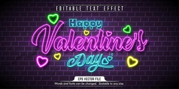 Valentinstagstext, bearbeitbarer texteffekt im neonstil Premium Vektoren