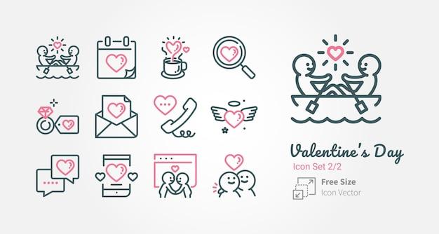 Valentinstagvektor-ikonensammlung mit entwurfsanschlag Premium Vektoren