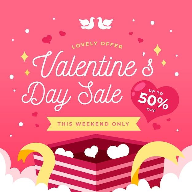 Valentinstagverkauf im flachen design Kostenlosen Vektoren