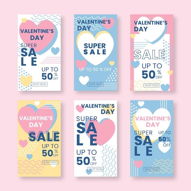 Valentinstagverkaufs-geschichtensammlung Kostenlosen Vektoren