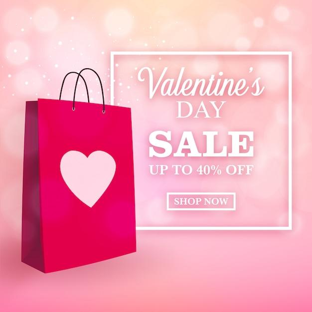 Valentinstagverkaufsdesign mit einkaufstasche Premium Vektoren