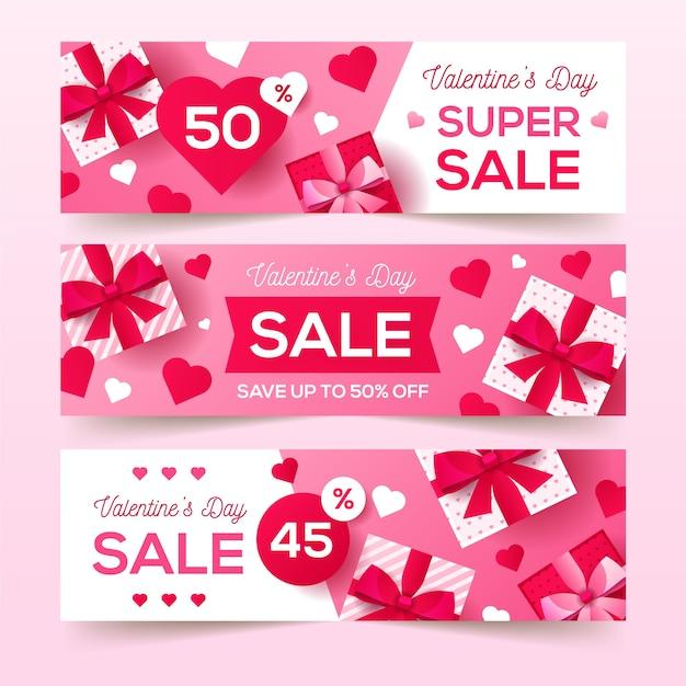 Valentinstagverkaufsfahnen im flachen design Kostenlosen Vektoren