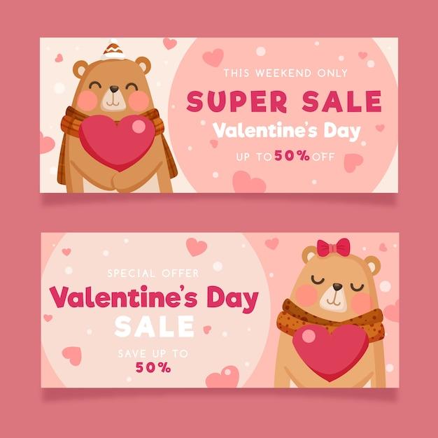 Valentinstagverkaufsfahnen mit bären Kostenlosen Vektoren