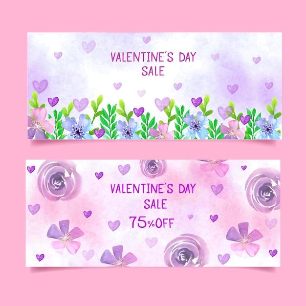 Valentinstagverkaufsfahnen mit blumen Kostenlosen Vektoren