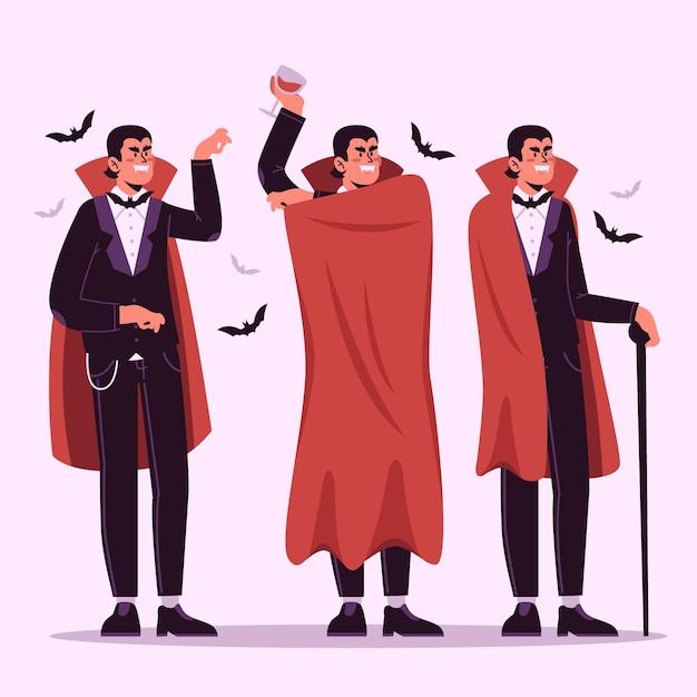 Vampir-charaktersammlung im flachen design Kostenlosen Vektoren
