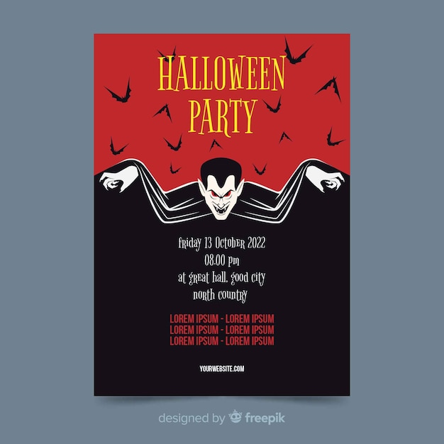 Vampir dracula auf flachem halloween-partyplakat Premium Vektoren