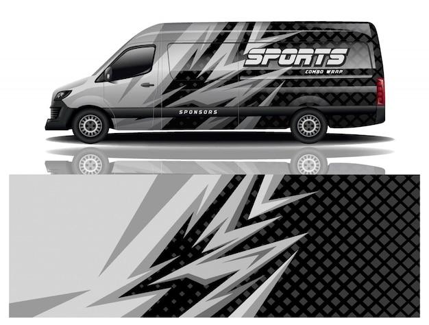 Van auto aufkleber wrap design vektor Premium Vektoren