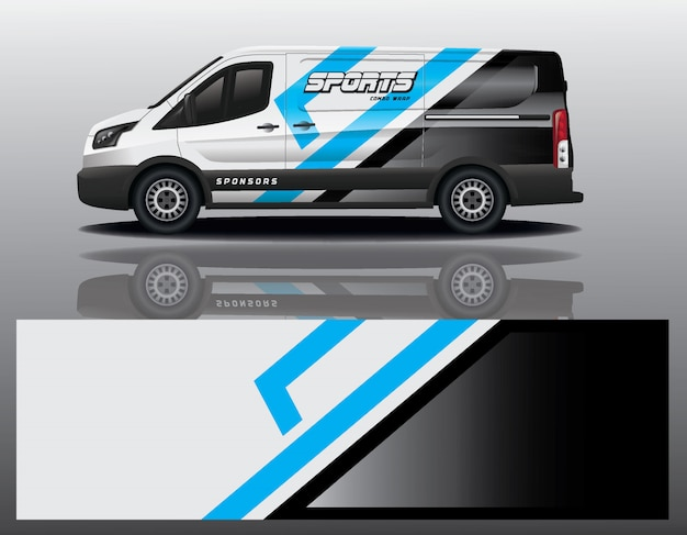 Van auto aufkleber wrap design Premium Vektoren