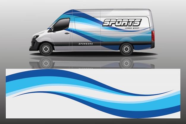 Van auto aufkleber wrap illustration Premium Vektoren