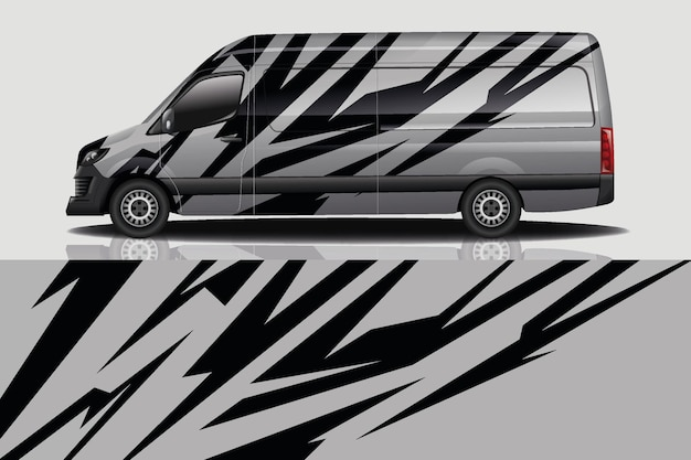 Van car decal wrap design Premium Vektoren