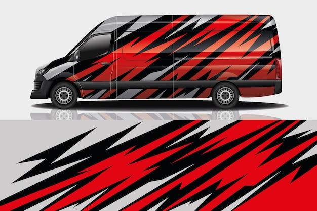 Van car decal wrap design Premium Vektoren