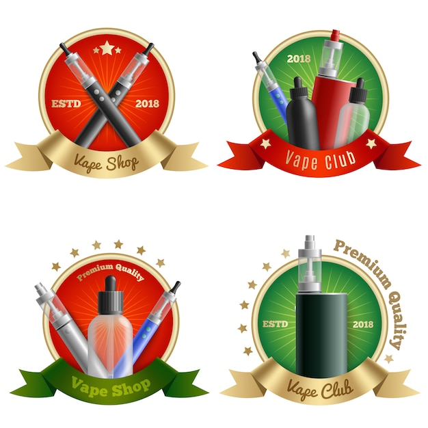 Vape shop embleme gesetzt Kostenlosen Vektoren