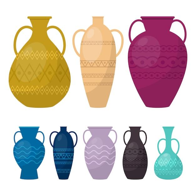 Vase set illustration auf weißem hintergrund Premium Vektoren