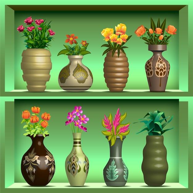 Vasen auf dem regal Premium Vektoren