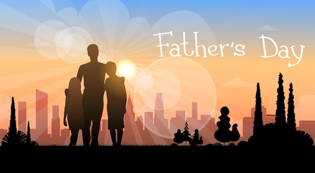 Vater day holiday, silhouette sohn tochter papa umarmung Premium Vektoren