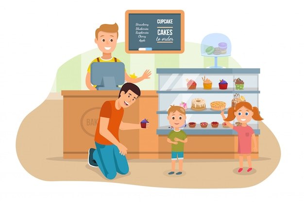 Vater und kinder, die bäckerei-shop-illustration besuchen Premium Vektoren