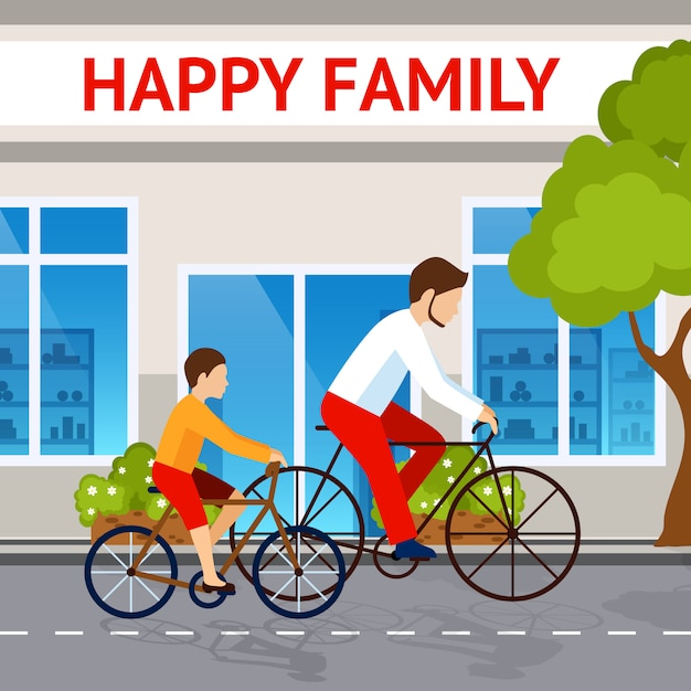 Vater und sohn auf fahrrädern Kostenlosen Vektoren