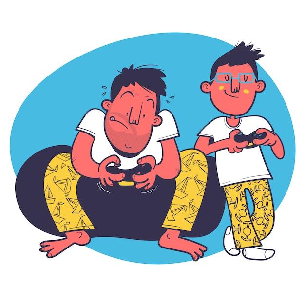 Vater und sohn, die videospiele spielen Premium Vektoren