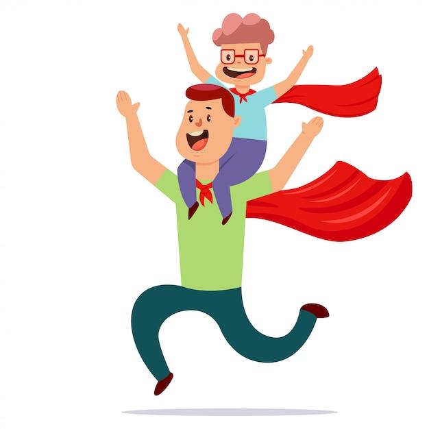 Vater und sohn im superheldenkostüm spielen zusammen Premium Vektoren