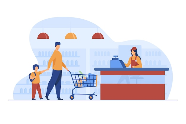Vater und sohn kaufen lebensmittel im supermarkt. kassierer, wagen, speichern flache vektorillustration. einkaufs- und lebensmittelgeschäftskonzept Kostenlosen Vektoren