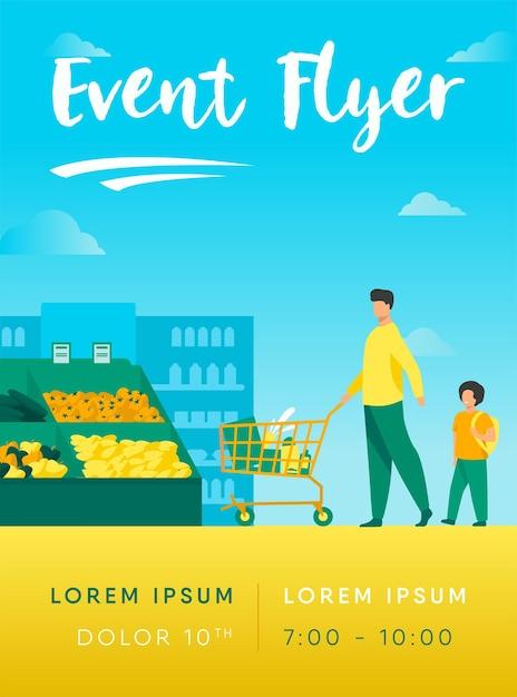 Vater und sohn kaufen lebensmittel in supermarkt flyer vorlage Kostenlosen Vektoren