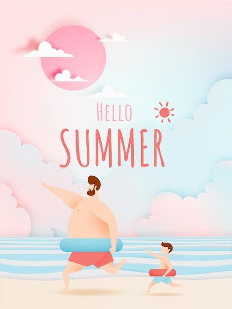 Vater und sohn mit schwimmring mit schönen strand und himmel Premium Vektoren