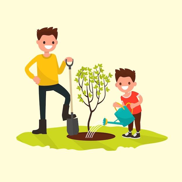 Vater und sohn pflanzen eine baumillustration Premium Vektoren