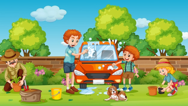 Vater und sohn putzen auto im hof Premium Vektoren