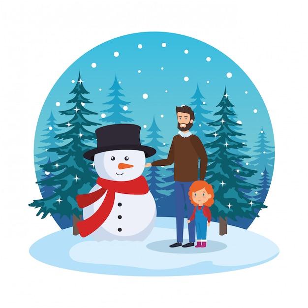 Vater und tochter mit weihnachtskleidung in der schneelandschaft Premium Vektoren