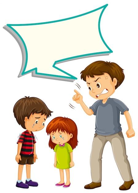 Vater verärgert mit kindern mit sprechblase Kostenlosen Vektoren