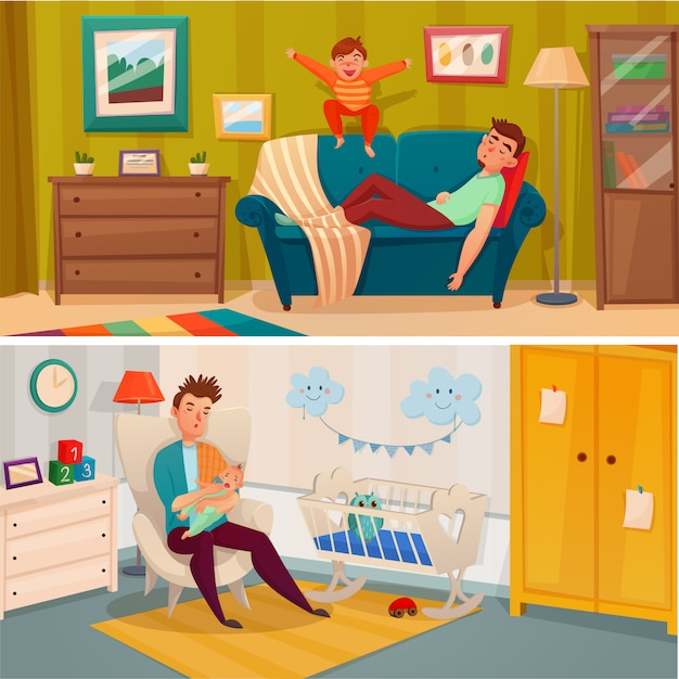 Vaterschaft banner set Kostenlosen Vektoren