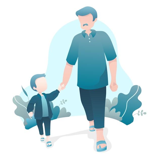 Vatertags-illustration mit dem vati und sohn, die zusammen händchenhalten gehen Premium Vektoren