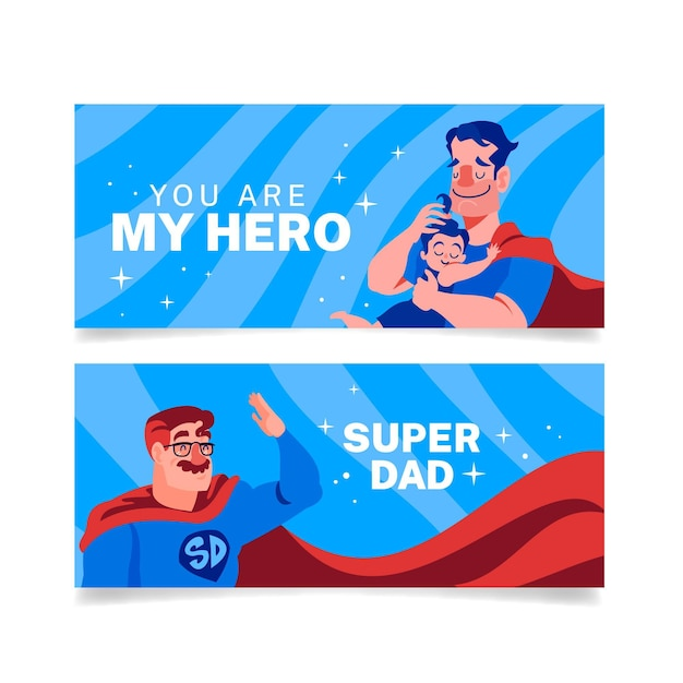 Vatertagsbanner mit superheldenvater Premium Vektoren