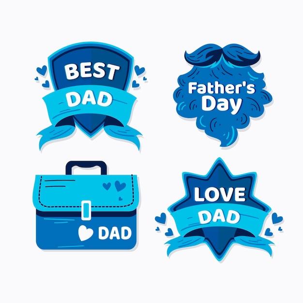 Vatertagsetikettenkollektion Kostenlosen Vektoren