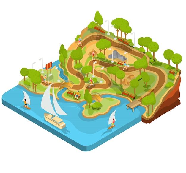 Vector 3d isometrische darstellung der querschnitt eines landschaftsparks mit einem fluss, brücken, bänke und laternen. Kostenlosen Vektoren