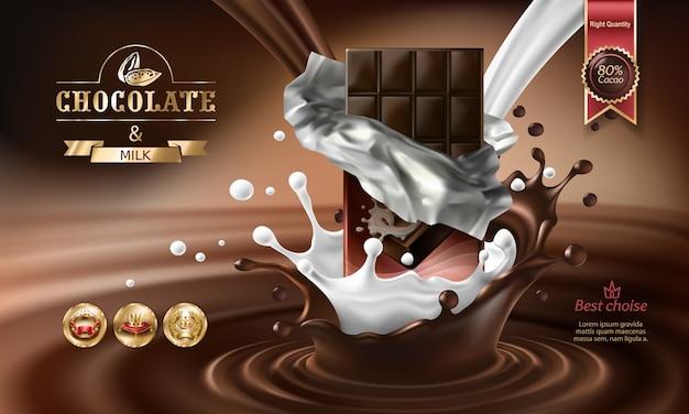 Vector 3d spritzer von geschmolzener schokolade und milch mit fallenden stücke von schokoriegel. Kostenlosen Vektoren